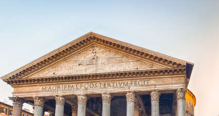 the majesty: the majesty of the Pantheon in Rome with its imposing columns and ancient walls Stock Photo