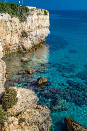 rocky cove on the coast of Salento in Puglia in Italy