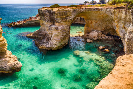 apulia: Rocky stacks on the coast of Apulia in Southern Italy Stock Photo