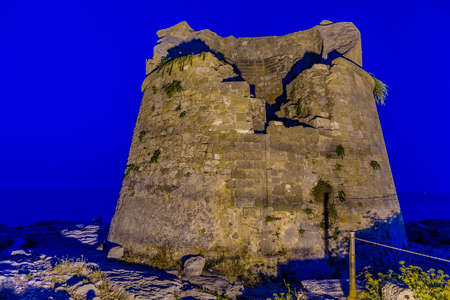 apulia: Night view of italian watchtower in Apulia Stock Photo