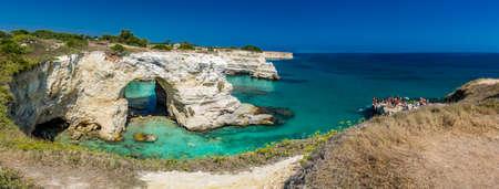 Rocky stacks of Santo Andrea on the coast of Salento in Puglia in Italy Stock Photo