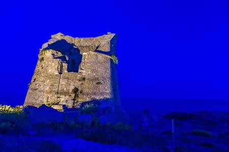 watchtower: Night view of italian watchtower in Apulia Stock Photo