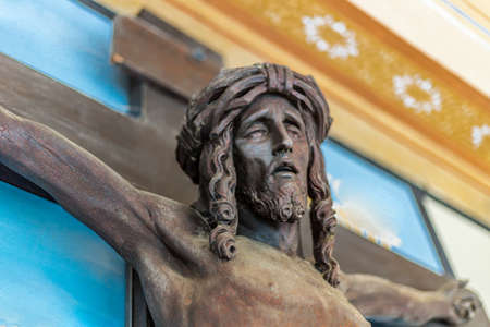 crucified: detail of a statue of Jesus Christ crucified Stock Photo