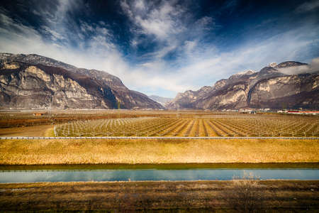 cultivated: Cultivated fields at the foot of the mountains