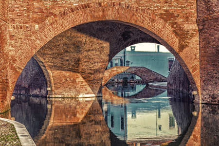 little venice: Trepponti bridge in Comacchio in Emilia Romagna, known as The Little Venice because of being an enchanting lagoon city with bridges and canals running through it