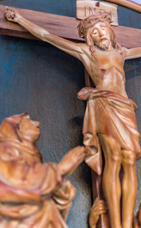 crucified: statue of Jesus Christ crucified Stock Photo