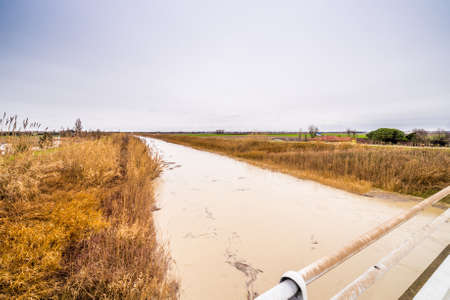 muddy: Muddy waters of a swollen river in the countryside Stock Photo