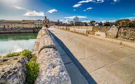 parapet wall: Tiberius Bridge in Rimini, one of the most solid architectural structures built by the Romans Stock Photo