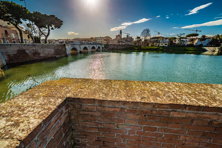 rimini: Tiberius Bridge in Rimini, one of the most solid architectural structures built by the Romans Stock Photo