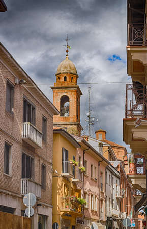 rimini: narrow alleys through ancient buildings in the historic center of Rimini in Italy