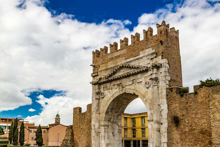 augustus: Arch of Augustus, an ancient Roman gateway to the city of Rimini in Italy