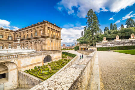 sixteenth: the sixteenth century walls of Pitti Palace in Florence, in Italy,  residence of the grand-dukes of Tuscany and later of the King of Italy and Italian garden