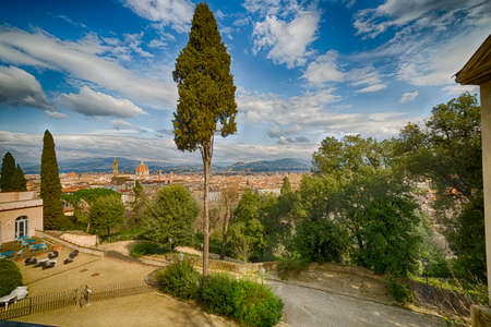 the tuscany: spectacular panorama over the roofs of Florence, ijn Tuscany,  from the park Stock Photo