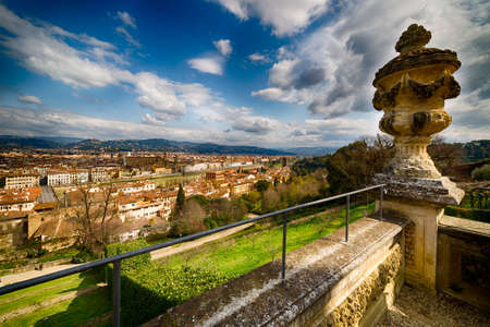 historic buildings: Panorama of Florence with churches,  historic buildings and river Stock Photo
