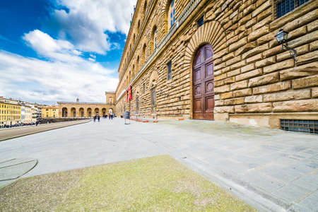 glitz: the sixteenth century walls of Pitti Palace in Florence, in Italy,  residence of the grand-dukes of Tuscany and later of the King of Italy