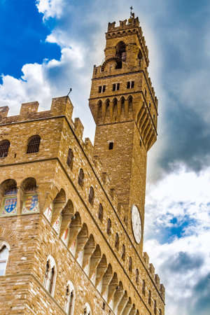 medici: the memories of the Medici court in the walls of the Palazzo della Signoria, meaning the Lordship Palace in Italian language, in Firenze, Italy Stock Photo