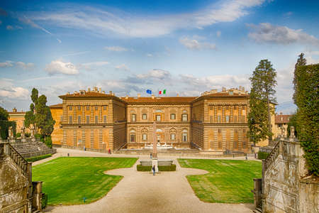 The Italian-style Boboli gardens behind the Pitti Palace in Florence, Italy