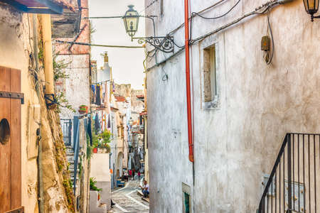 gargano: the romantic very old village of Vico del Gargano, a maze of narrow streets and narrow alleys lined with quaint houses and palaces whose patron is Saint Valentine Stock Photo