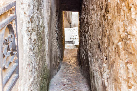 patron of europe: the romantic Alley of the Kiss in the very old town of Vico del Gargano, a maze of narrow streets and alleys whose patron is Saint Valentine
