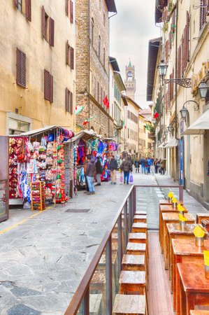 restaurants and stalls in the alleys of Florence Stock Photo