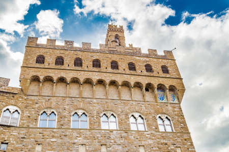 firenze: the battlements of the walls of the Palazzo della Signoria, meaning the Lordship Palace in Italian language, in Firenze, Italy