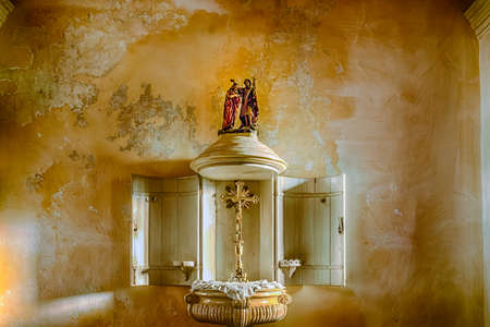 baptismal: ancient baptismal font in Italy Stock Photo