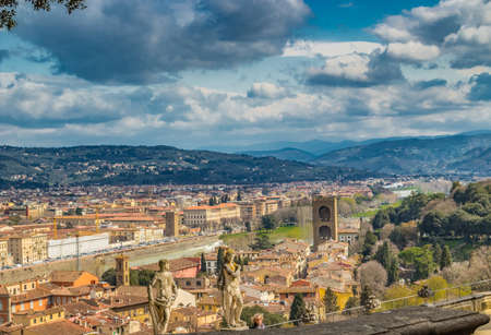 Breathtaking views of the magnificent buildings and Catholics churches of Florence, Tuscany Stock Photo