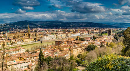 vertiginous views on the ancient buildings and Catholics churches of Florence, Italy