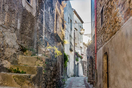 patron of europe: the romantic very old village of Vico del Gargano, a maze of narrow streets and narrow alleys lined with quaint houses and palaces whose patron is Saint Valentine Stock Photo