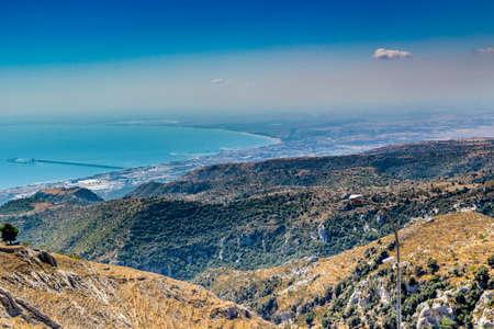 rotondo: View of the coast of Gargano from mount of San Giovanni Rotondo in Puglia
