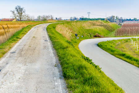 plains: asphalt road near fields of fruit trees in the plains in the countryside of Emilia Romagna in Italy Stock Photo