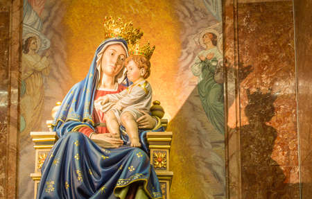 infant jesus: Blessed Virgin Mary holding the infant Jesus