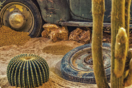 karkas: carcass of an old rusty car in the desert sand surrounded by rocks and cactus