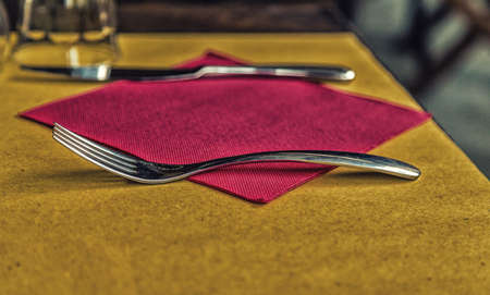 laid: laid table with fork, spoon, napkin and glass