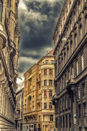 classicism: The variety of styles of palaces in Budapest: Roman, Gothic, Neo-Gothic, Renaissance, Neo-Renaissance, Baroque, Neo-Baroque, Ottoman, Classicism, Neo-Classicism, Romantic and Art Noveau Architecture Stock Photo