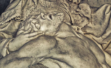 embraced: Dead Jesus Christ down from the cross, being embraced by the Virgin Mary