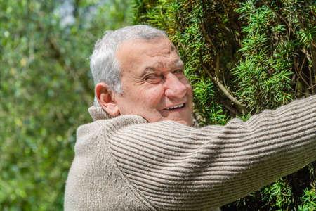 afecto: Cauc�sica mayor en jard�n verde abraza con afecto un arbusto alto