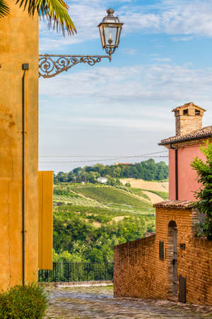 cobbled: cobbled street of a medieval village on the hills of Romagna in Italy Stock Photo