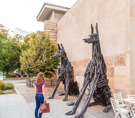 perplexity: astonished young woman in front of two statues of Doberman dogs