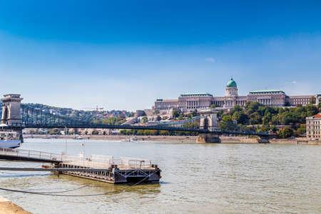 buda: Buda Castle and Chain Bridge on the Danube river Stock Photo