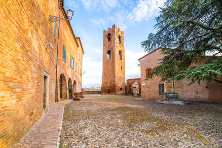 romagna: a small hilltop village cobbled streets in Emilia Romagna in Italy Stock Photo