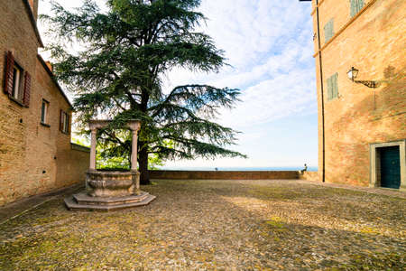 dwell house: a small hilltop village cobbled streets in Emilia Romagna in Italy Stock Photo