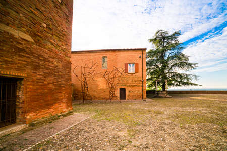 hilltop: a small hilltop village cobbled streets in Emilia Romagna in Italy Stock Photo