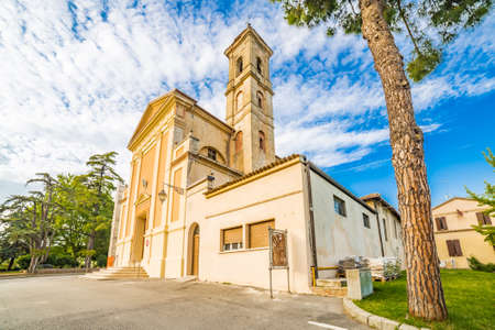 collegiate: church in a medieval village in Italy, Collegiate Church of St. Christopher Stock Photo