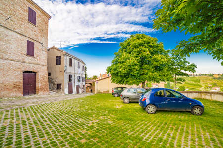 hilltop: a small hilltop village streets in Emilia Romagna in Italy Stock Photo