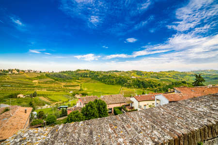 farmlands: panorama of the hills of Romagna, with streets, houses and farmlands from stone parapet Stock Photo