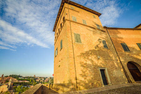 romagna: a small hilltop village cobbled streets in Emilia Romagna in Italy Editorial