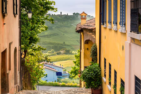 romagna: cobbled street of a medieval village on the hills of Romagna in Italy Stock Photo