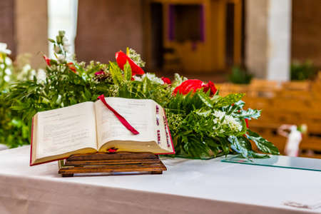 gospel: Gospel book open on the altar