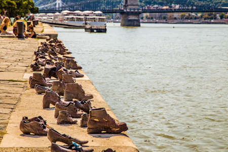 holocaust: Metal shoes on the Danube promenade, memorial in Budapest to the victims of the Holocaust Stock Photo